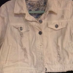 hippie laundry Jackets & Coats - White distressed cropped jean jacket